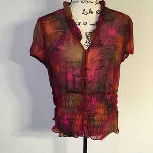 Worthington sheer printed blouse XL